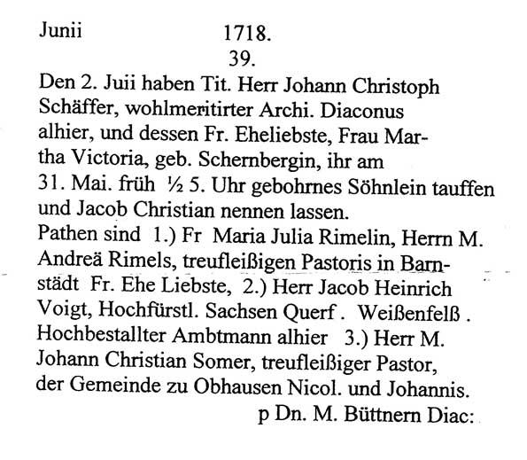 Übersetzung der Taufurkunde von Jakob Christian Schäffer